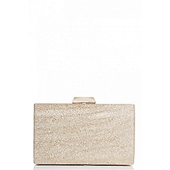 Quiz - Gold glitter box style clutch bag