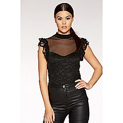 Quiz - Black mesh ruffle detail bodysuit