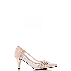 Quiz - Gold shimmer  diamante and mesh low heel court shoes