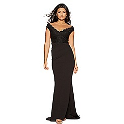 Quiz - Black crepe bardot lace fishtail maxi dress