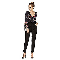 Quiz - Black crepe high waisted trousers