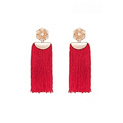 Quiz - Red and gold flower tassel earrings