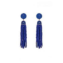 Quiz - Blue bead tassel earrings