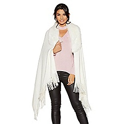 Quiz - White fur collar knit cape