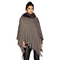 Quiz - Grey faux fur neck poncho