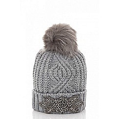 Quiz - Grey facet pom pom hat