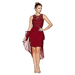 Quiz - Berry lace sweetheart neck dip hem dress