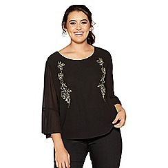 Quiz - Curve black and gold chiffon embellished flute sleeve top