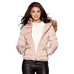 Quiz - Pink padded faux fur short jacket