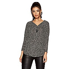 Quiz - Black and grey boucle knit front zip detail 3/4 sleeves top