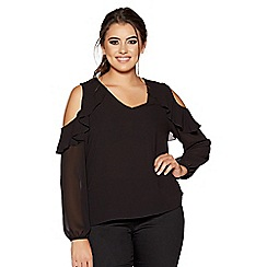 Quiz - Curve black frill cold shoulder top