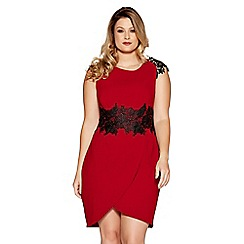 Quiz - Curve berry and black wrap bodycon dress