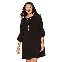 Quiz - Curve black crepe double frill necklace dress