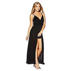 Quiz - Gabby's black glitter cross over hem maxi dress