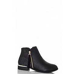 Quiz - Black glitter ankle boots