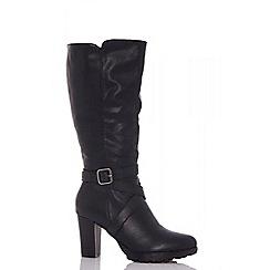 Quiz - Black faux suede strap boots
