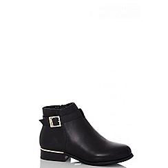 Quiz - Black pu low heel boots