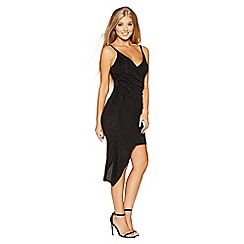 Quiz - Gabby's black glitter asymmetric wrap bodycon dress