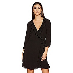 Quiz - Black crepe wrap frill 3/4 sleeves dress