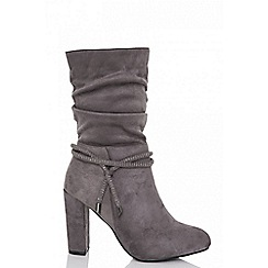 Quiz - Grey faux suede block heel ruched boots