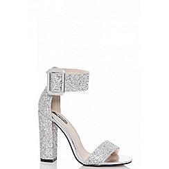 Quiz - Silver glitter buckle heel sandals