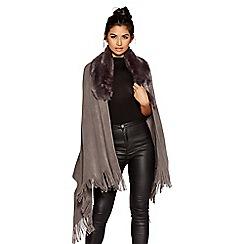 Quiz - Grey fur collar knit cape