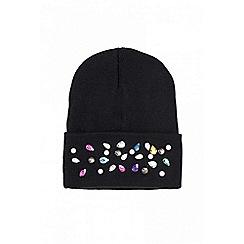 Quiz - Black pearl and diamonds beanie hat