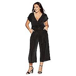 Quiz - Curve black glitter front tie jumpsuit