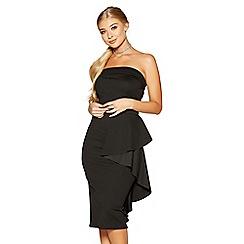 Quiz - Black crepe bardot ruffle side midi dress