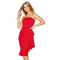 Quiz - Red shoulder frill midi dress