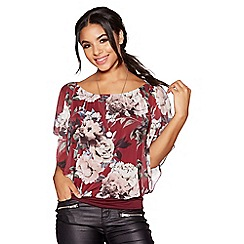 Quiz - Berry and white floral print top