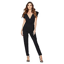 Quiz - Black crepe cross over frill sleeves jumpsuit