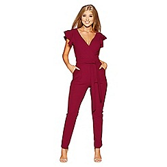 Quiz - Berry crepe cross over frill sleeves jumpsuit