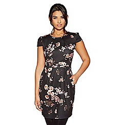 Quiz - Black floral print pencil dress