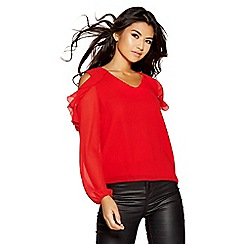 Quiz - Red chiffon frill cold shoulder top