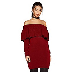 Quiz - Wine knit ruffle detail bardot jumper dress