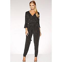 Quiz - Black glitter tie front jumpsuit