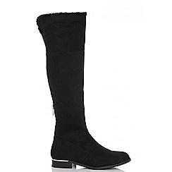 Quiz - Black faux suede knee high boots