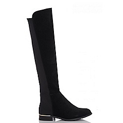 Quiz - Black stretch knee high gold trim flat boots