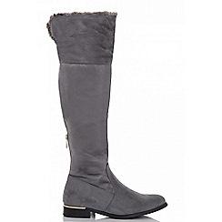Quiz - Grey knee high fur trim long flat boots