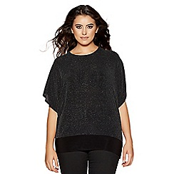 Quiz - Curve black glitter batwing 3/4 sleeves top