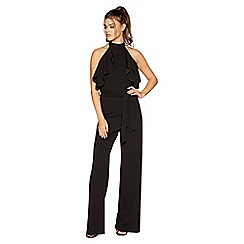 Quiz - Black choker frill jumpsuit