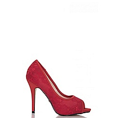Quiz - Red lace peep toe court shoes