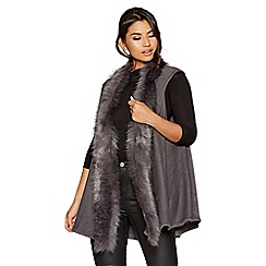 Quiz - Grey fur trim waistcoat