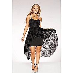 Quiz - Black flock glitter strap dress