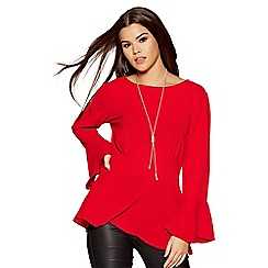 Quiz - Red silver necklace frill sleeves top