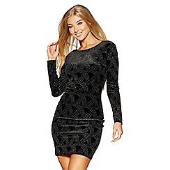 Quiz - Black velvet glitter bodycon dress