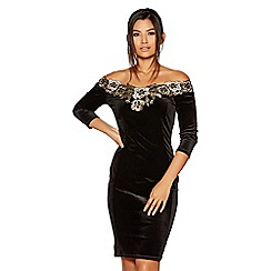 Quiz - Black velvet bardot gold embroidered dress