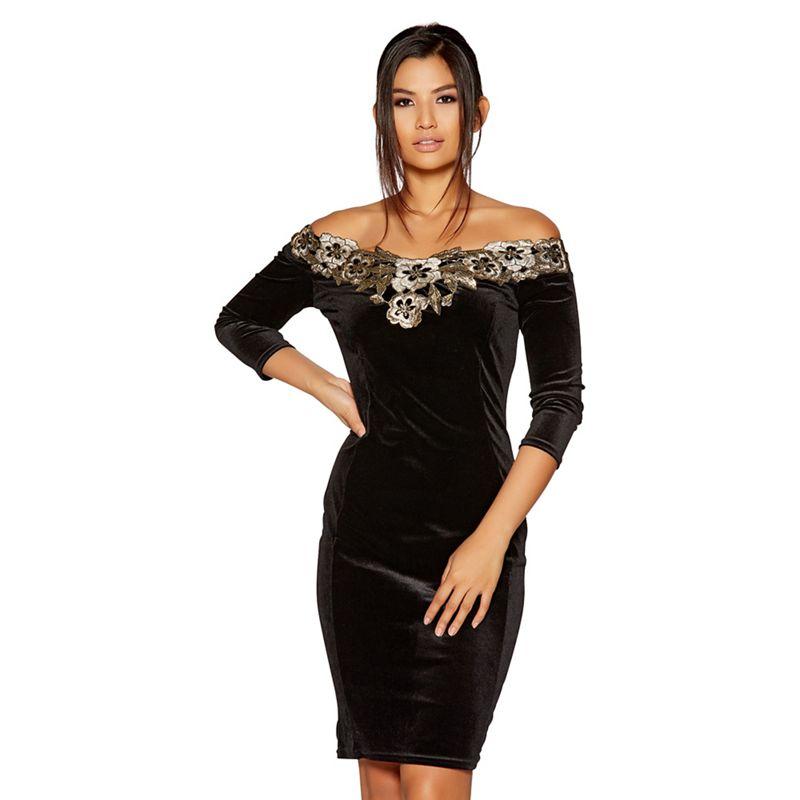 Quiz - Black Velvet Bardot Gold Embroidered Dress