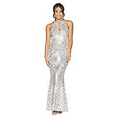 Quiz - Silver sequin and mesh fishtail maxi dress